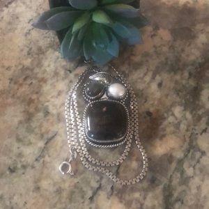 Jewelry - Jasper & Labradorite & Pearl Pendant